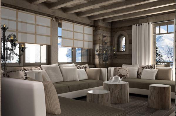 D co salon ambiance chalet for Decoration interieur style chalet