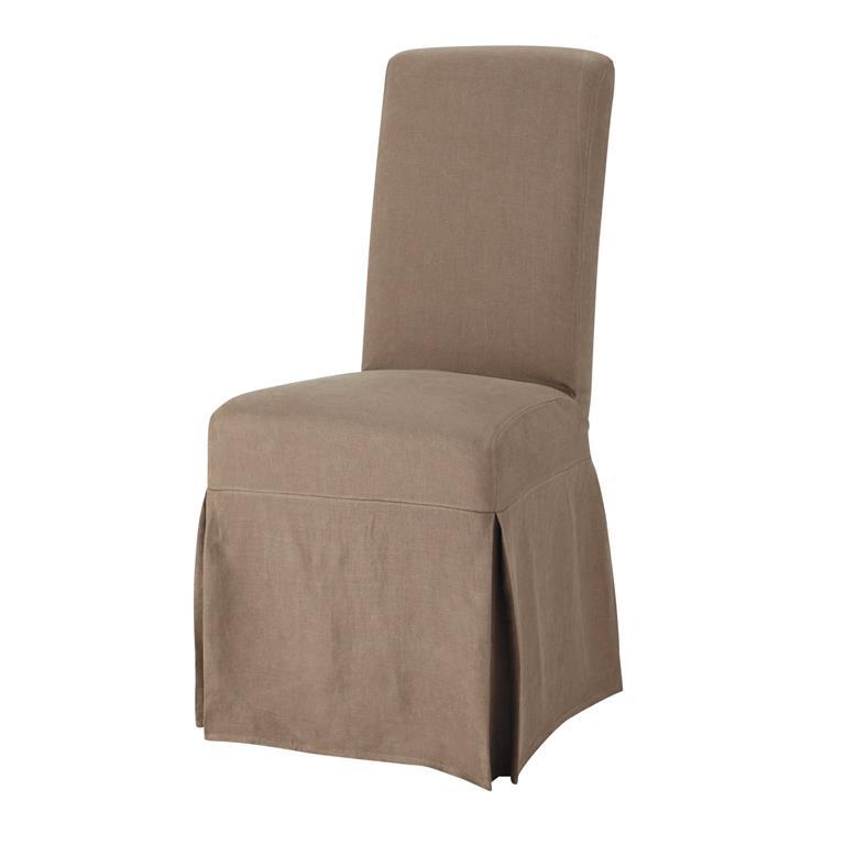 Housse longue de chaise en lin lav taupe margaux maisons - Housse chaise lin ...