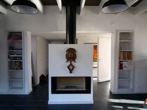 cheminee centrale blanche