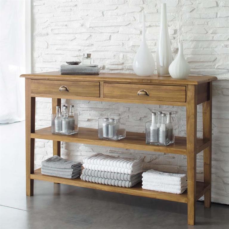 Table console en teck massif l 120 cm amsterdam maisons du for Consoles maison du monde