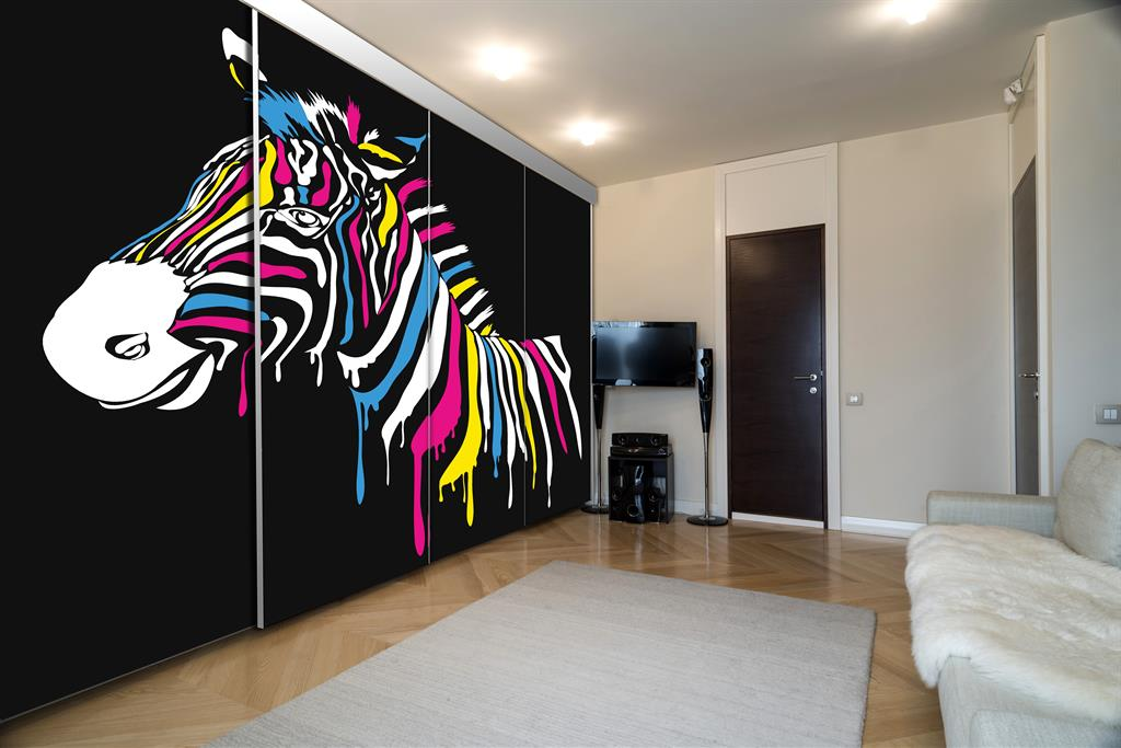 porte de placard coulissante 4 vantaux personnalis e zebre. Black Bedroom Furniture Sets. Home Design Ideas