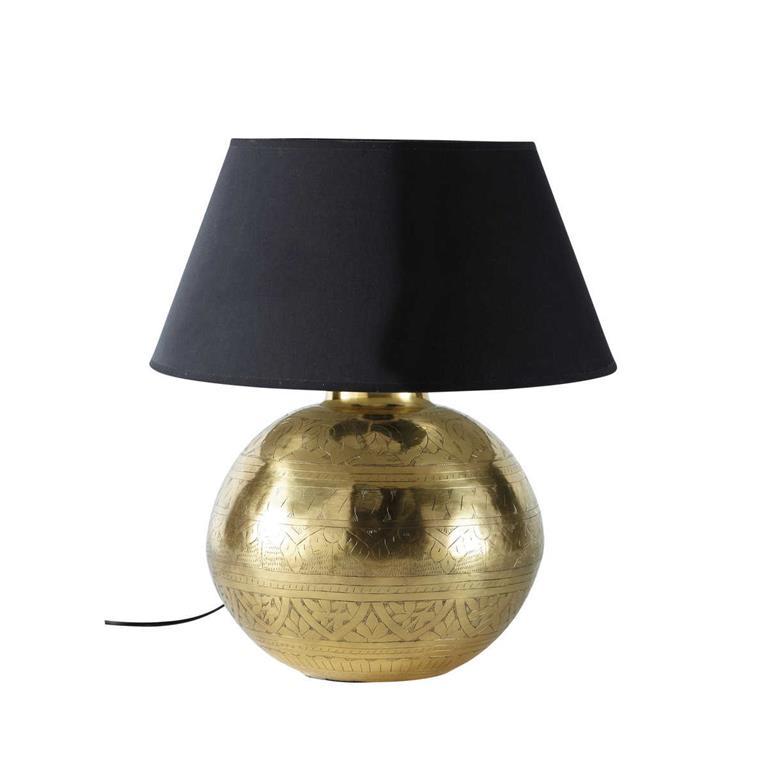 Lampe En M Tal Effet Dor Et Abat Jour En Tissu H 49 Cm Masala