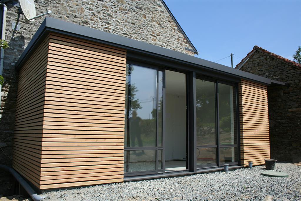 Extension Bois Toit Plat : des autres pi?ces > Extension bardage bois avec une toiture plate