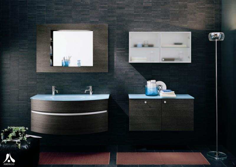 salle de bain gris bleu et marron effet min ral design interior. Black Bedroom Furniture Sets. Home Design Ideas
