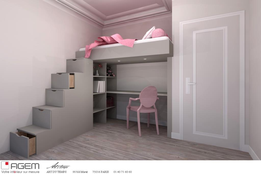 Idee deco chambre fille avec lit mezzanine for Photo lit mezzanine