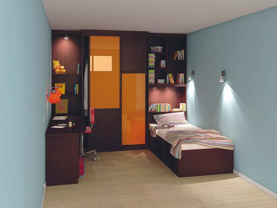 chambre d 39 adolescent avec placards ch ne et verre et t te de lit am nag e. Black Bedroom Furniture Sets. Home Design Ideas