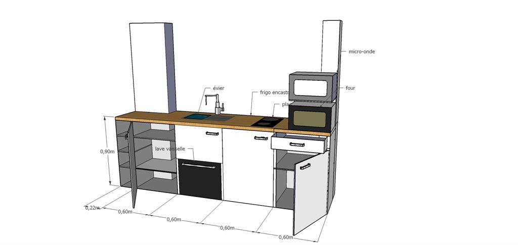 Cuisine pour un studio st ouen for Modelisation cuisine 3d