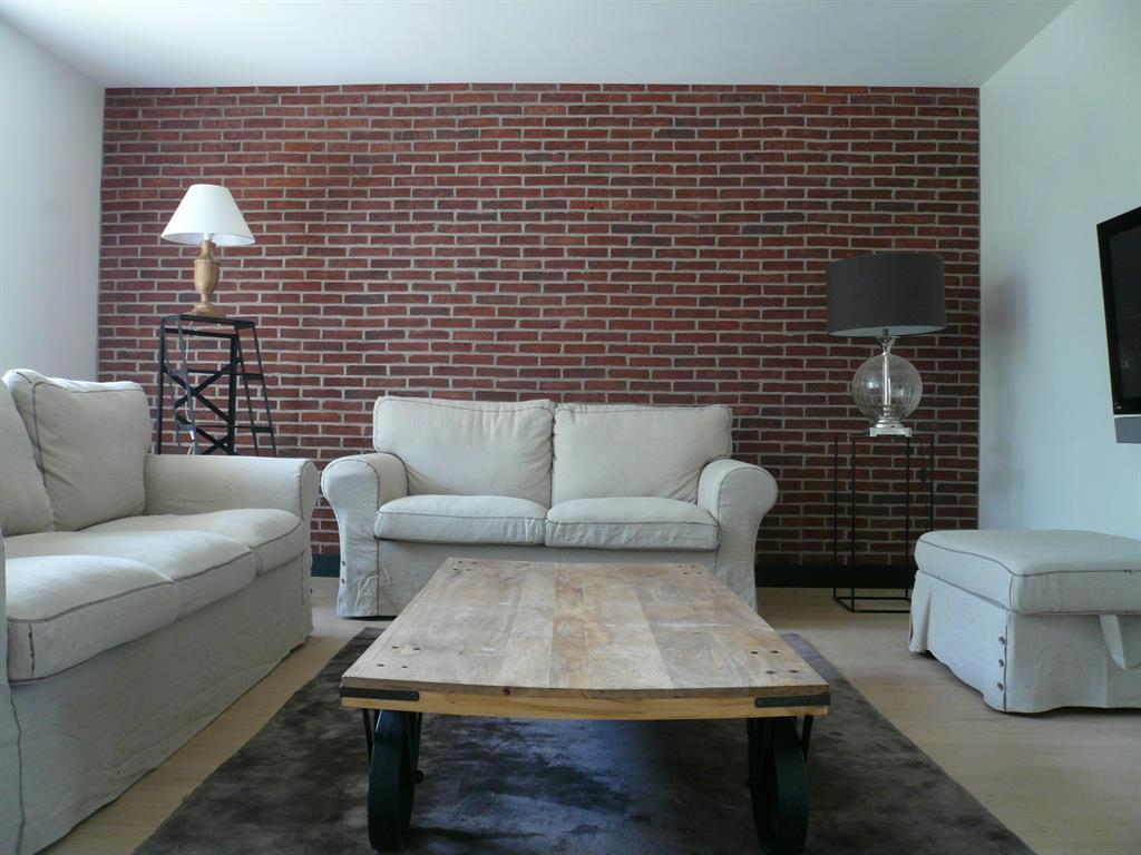 Salon 'campagne industriel' avec mur de briques moulées main