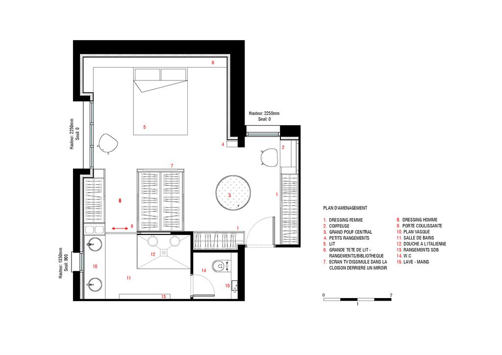 Plan suite parentale avec salle bain dressing for Photo de chambre parentale
