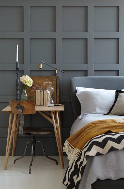 Peinture basalt dans la chambre de style nordique little greene - Chambre style nordique ...