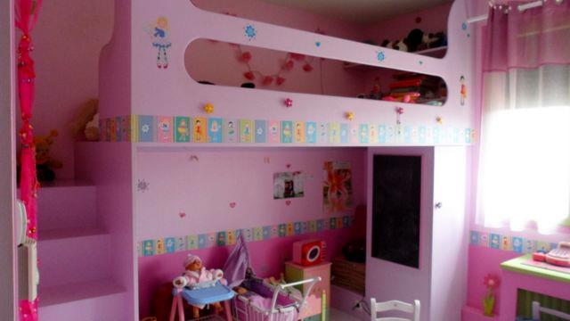 Un lit mezzanine rose a d c i photo n 96 domozoom for Chambre mezzanine enfant
