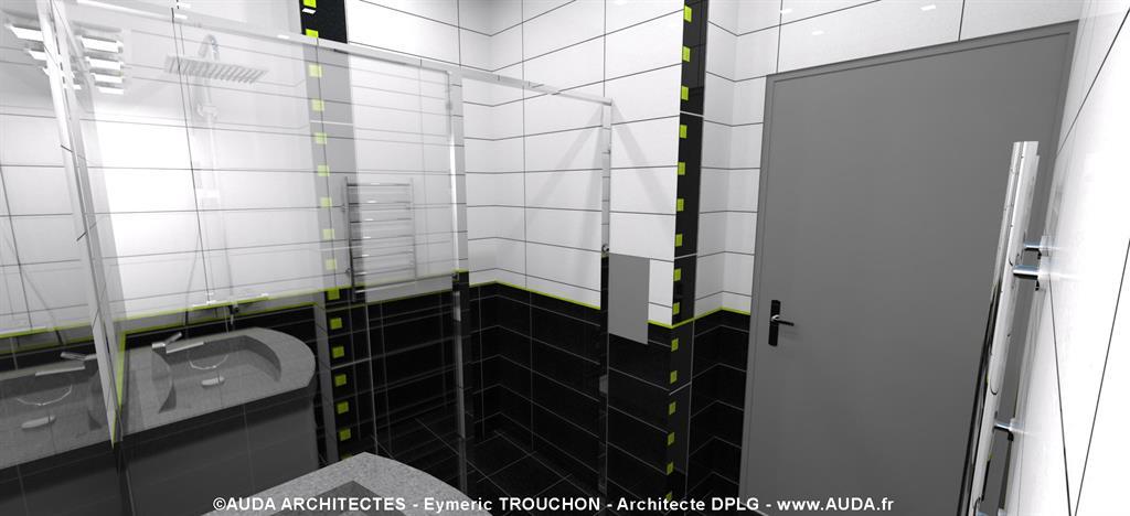 Salle de bain grise et blanche auda architectes photo n 45 - Salle de bain toute blanche ...
