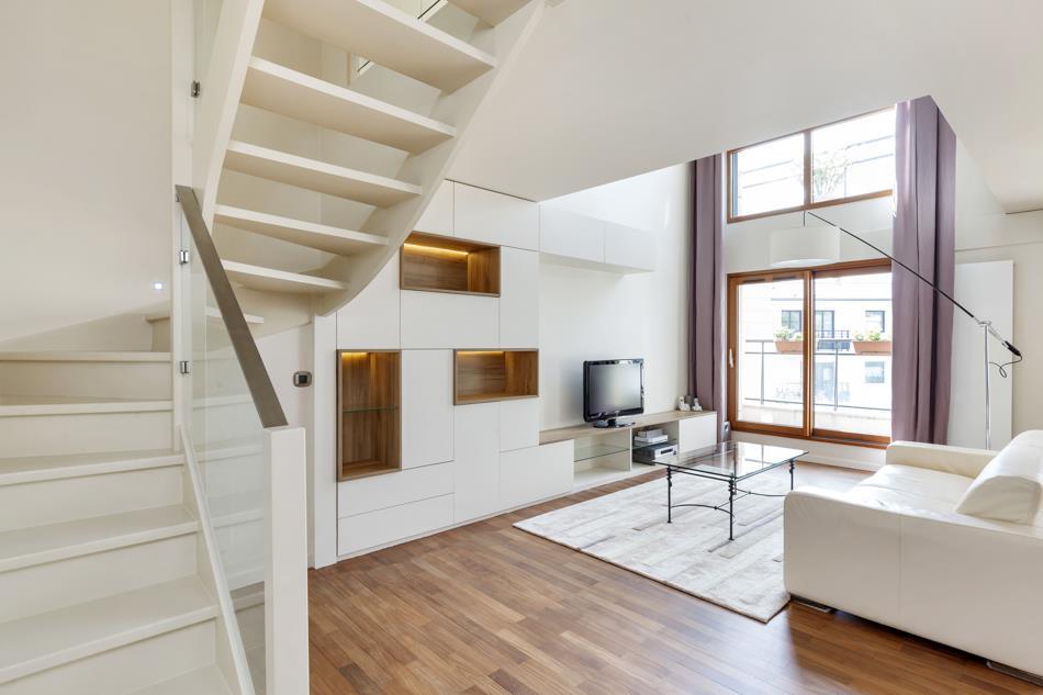 Salon ouvert et lumineux authentik design photo n 51 - Escalier ouvert salon ...