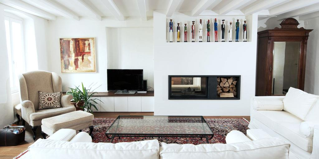 cheminee moderne blanche - Deco Salon Moderne Avec Cheminee