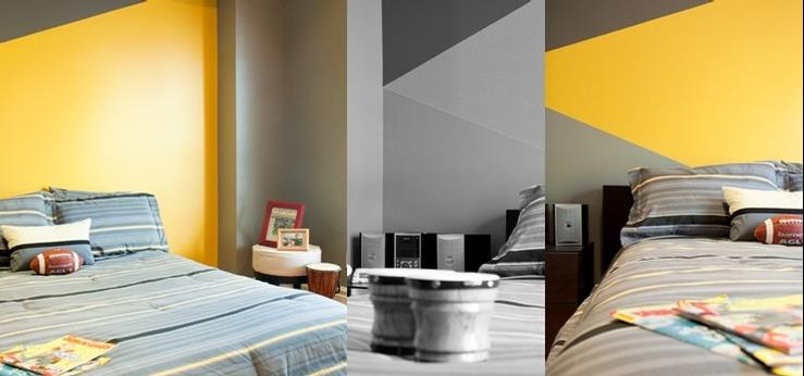 chambre grise bleu et jaune avec des id es int ressantes pour la conception de la. Black Bedroom Furniture Sets. Home Design Ideas