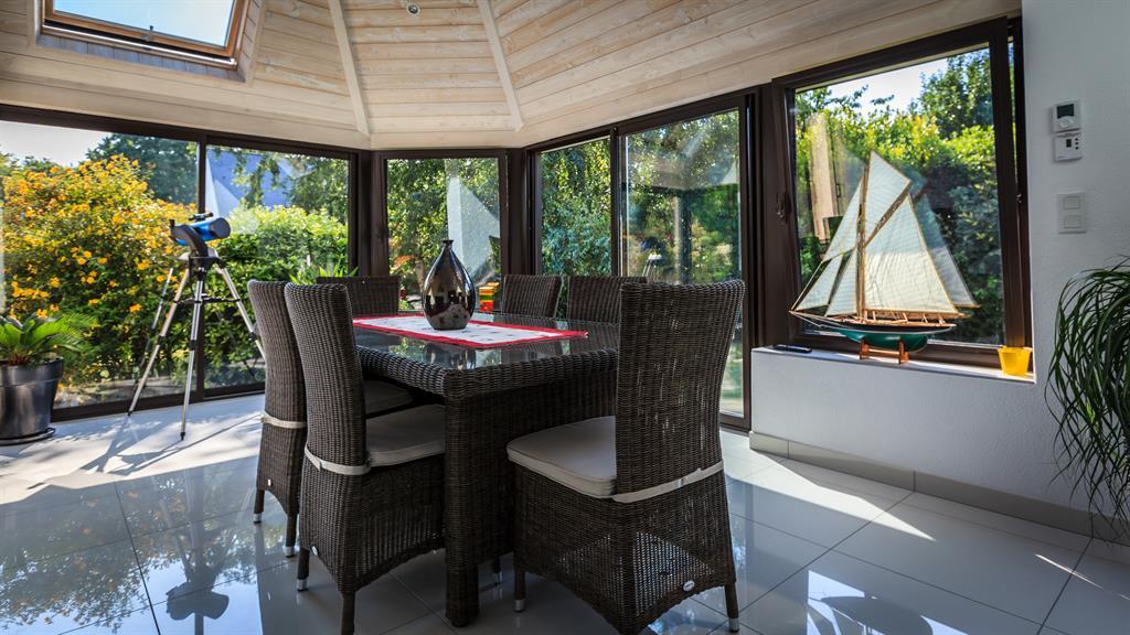 Extension v randa bois toit plat - Extension veranda moderne ...