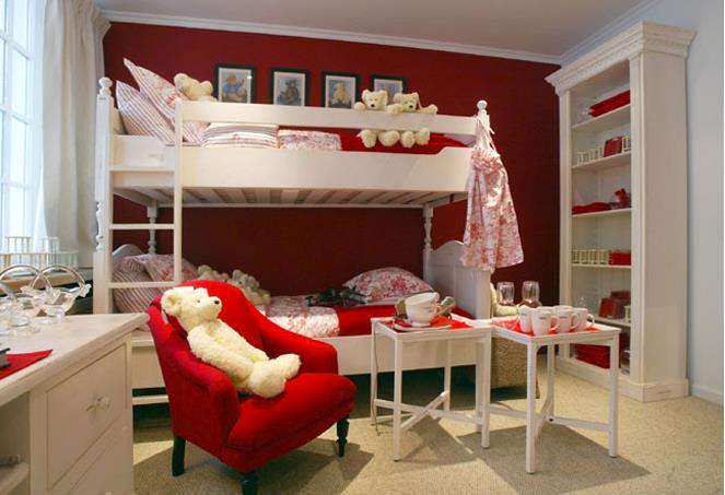 Chambre pour deux enfants en rouge et blanc lis me for Chambre pour deux enfants
