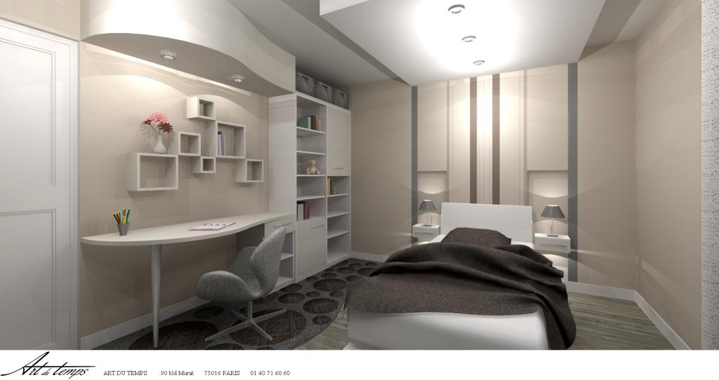 bureau chambre adulte chambre totalement sur mesure art du temps photo n - Espace Bureau Dans Chambre Parentale