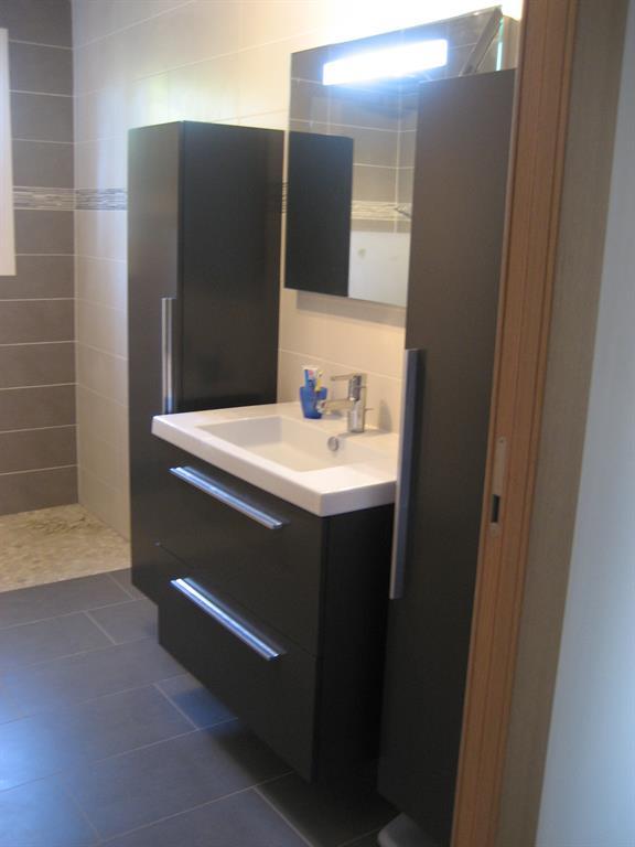 Salle d 39 eau cama eu marron et gris natacha bouveron architecte - Salle de bain vert et marron ...