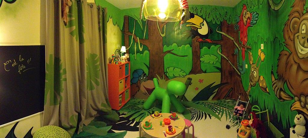 idee deco chambre bebe theme jungle avec. Black Bedroom Furniture Sets. Home Design Ideas