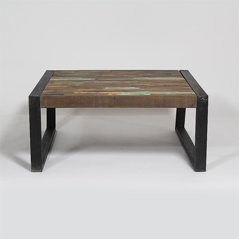 Table basse carree metal et bois for Table basse carree metal
