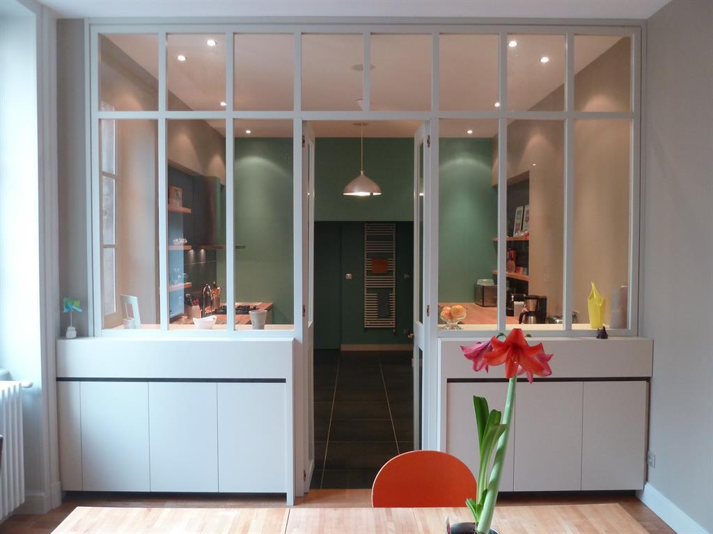 Cuisine en alcôve avec verrière Vincent GUILLO architecte d'intérieur