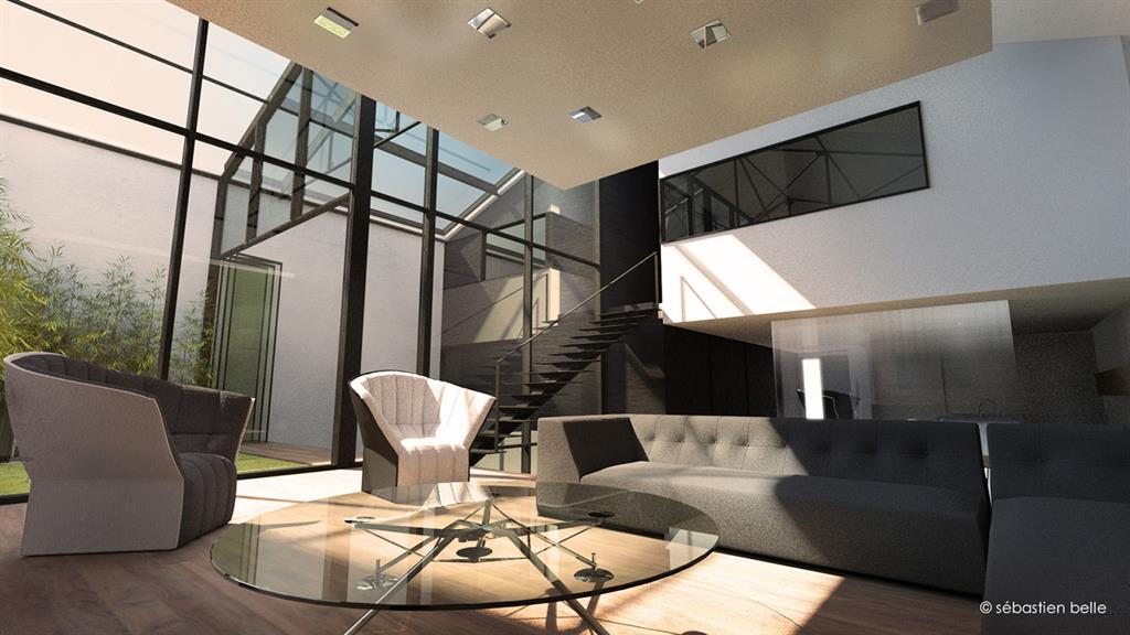 salon contemporain design salon contemporain l grement sur lev et plafond suspendu - Salon Contemporaine