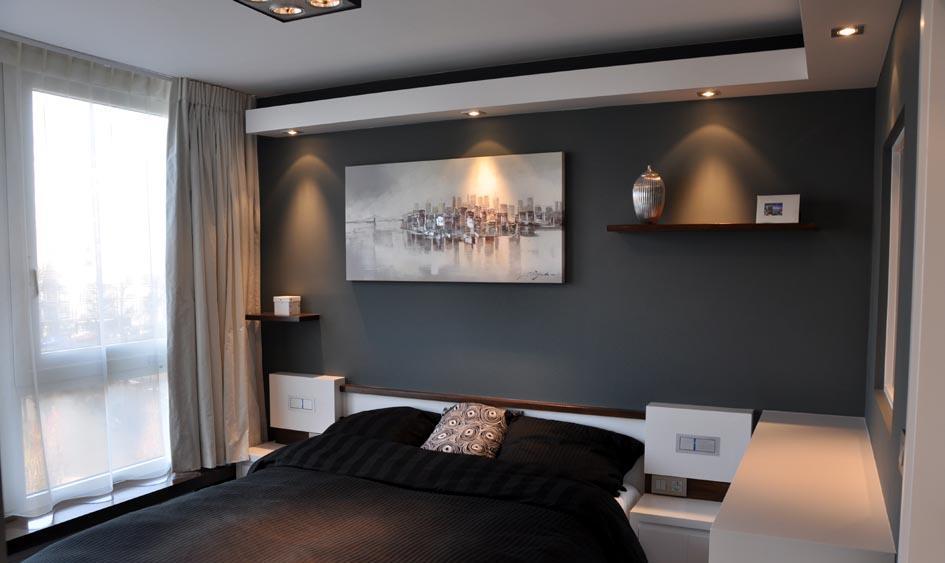 deco chambre moderne gris chambre moderne aux murs gris fonc avec mobilier assorti en - Chambre Moderne Taupe