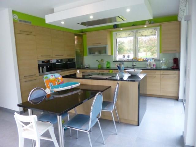 Couleur Bois Clair : Image Cuisine avec meubles de couleur bois clair et murs verts Green