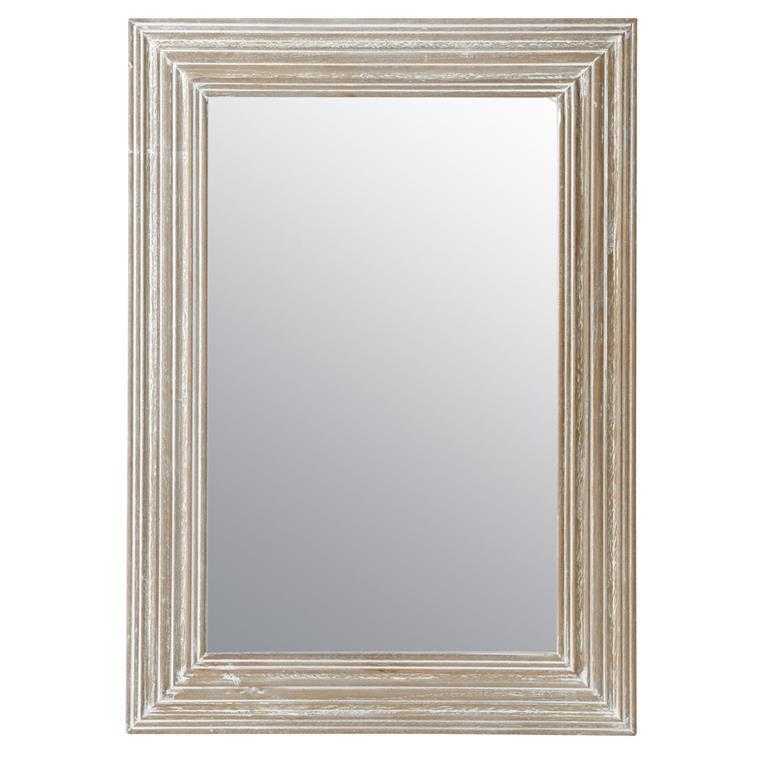 Miroir Bois Clair : Miroir en bois de paulownia gris clair H 70 cm CAMPAGNE