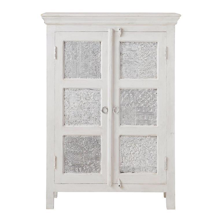 armoire en manguier massif blanche et argente l 84 cm udaipur - Meubles Blanc Maison Du Monde
