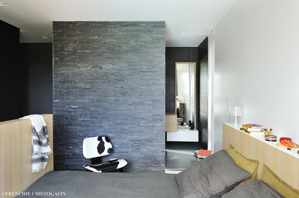 Chambre Avec Mur Ardoise GALLET ARCHITECTES Photo N°50