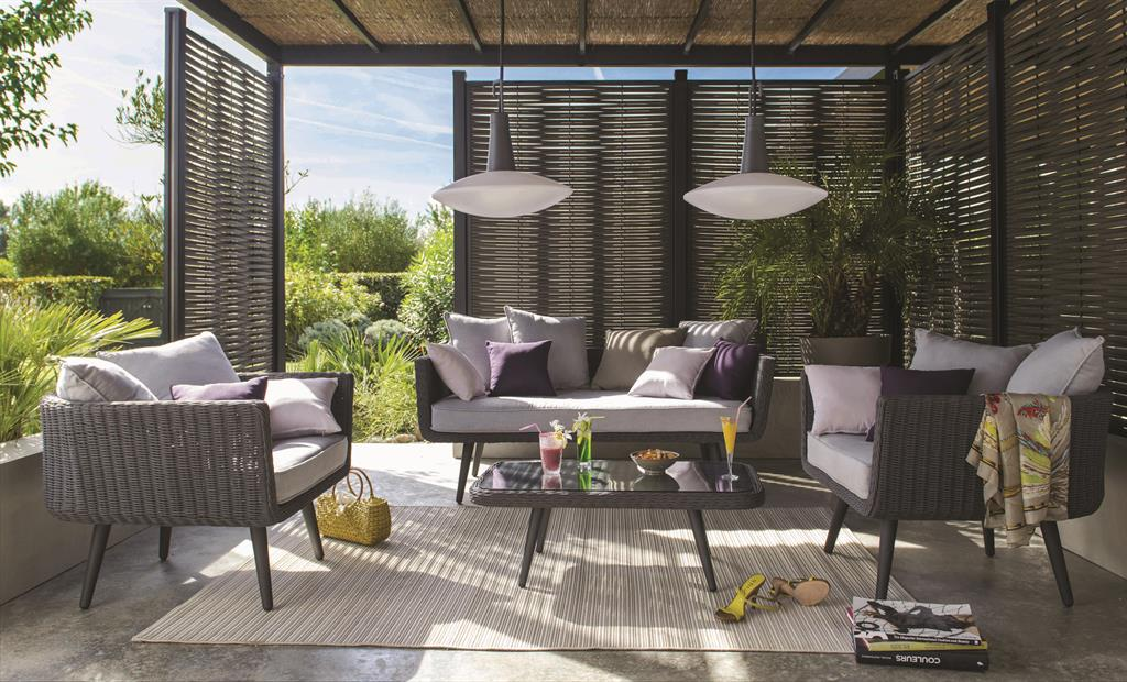 salon de jardin en aluminium effet rotin tress castorama. Black Bedroom Furniture Sets. Home Design Ideas