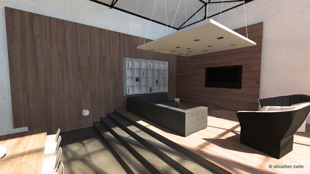 salon contemporain l g rement sur lev et plafond suspendu qui diminue l 39 espace. Black Bedroom Furniture Sets. Home Design Ideas