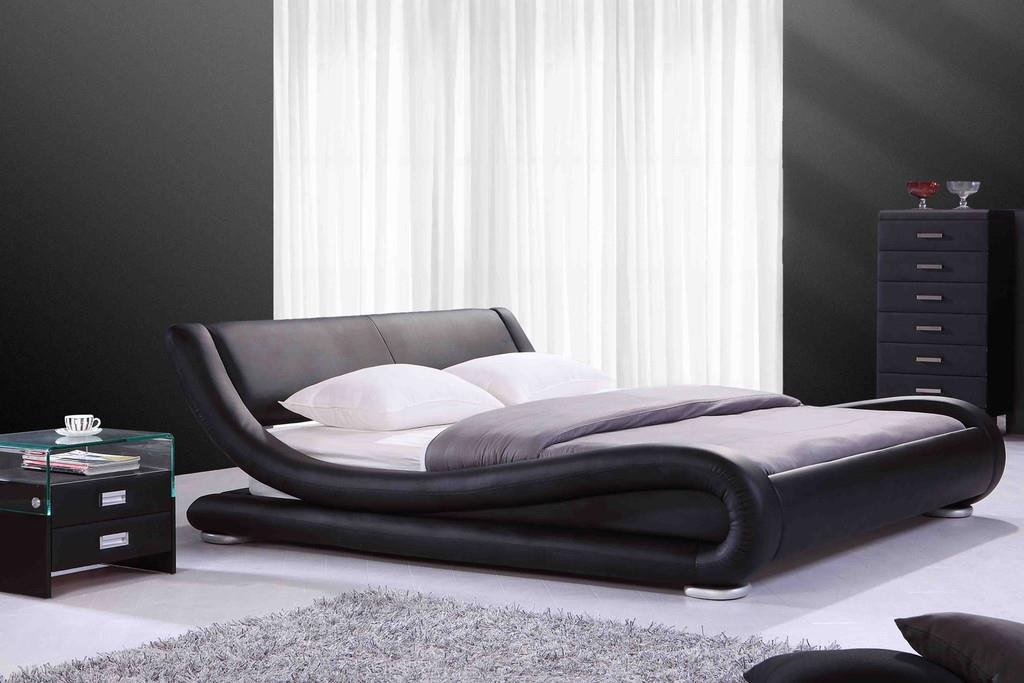 chambre design avec lit napoli en cuir noir lits design cugini klet. Black Bedroom Furniture Sets. Home Design Ideas