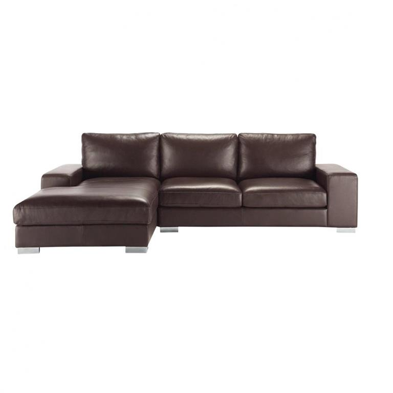 Canap d 39 angle 5 places en cuir marron new york maisons du - Canape d angle 5 places cuir ...
