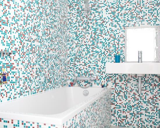 mosaique salle de bain rouge image mosaque bleue agns chryssostalis et agns guillemin - Mosaique Salle De Bain Rouge