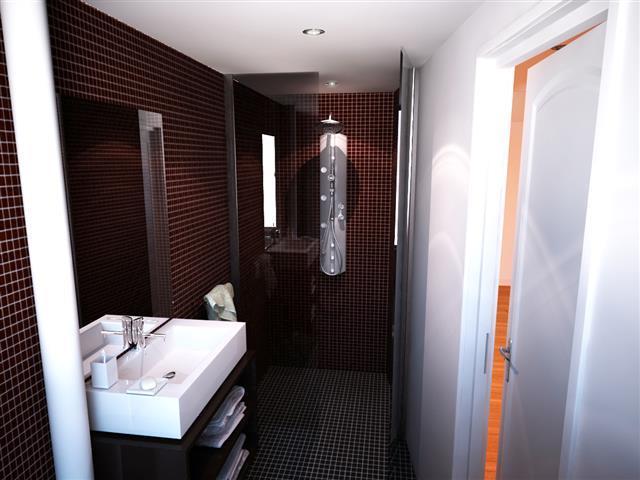 Salle de bain contemporaine en mosaïque rouge foncé