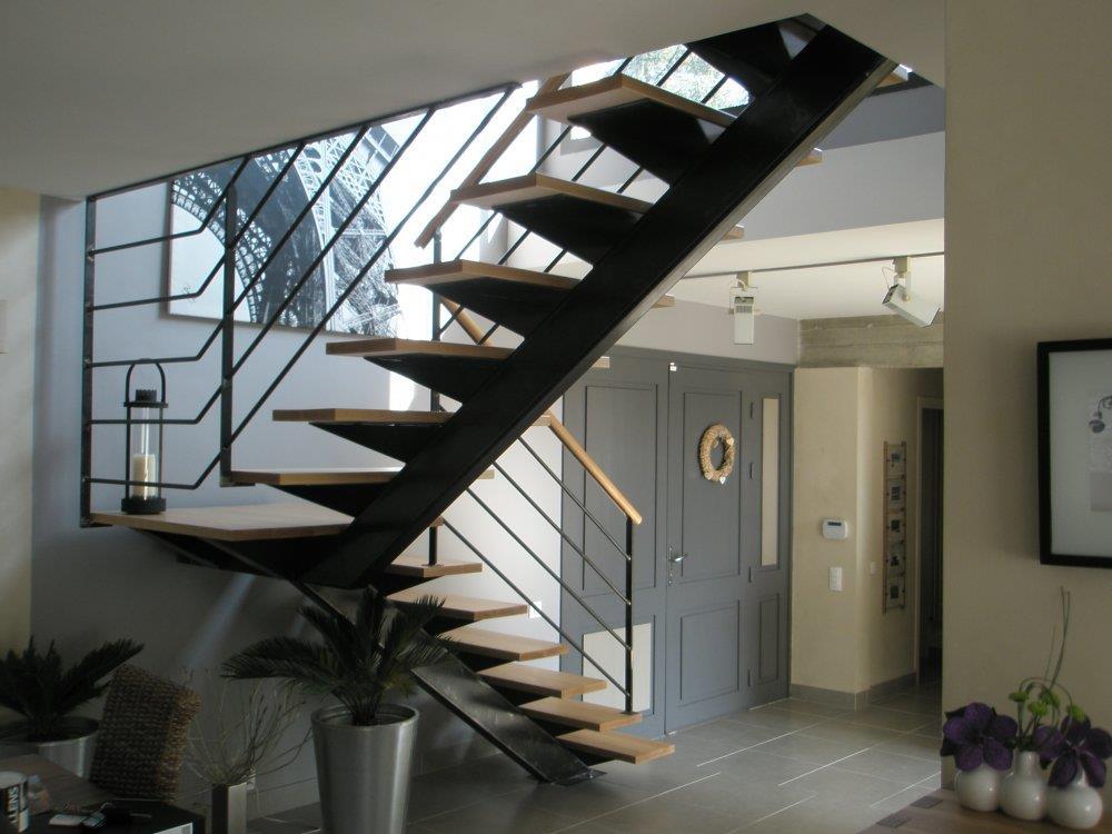 Escalier Contemporain Bois Et Acier Prange Architecte