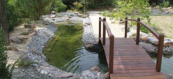 Bassin de jardin avec pont bassin de jardin for Bassin a poisson bois