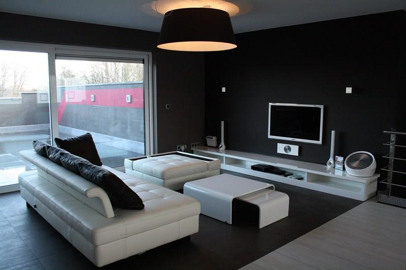 salon moderne design noir et blanc avec des. Black Bedroom Furniture Sets. Home Design Ideas