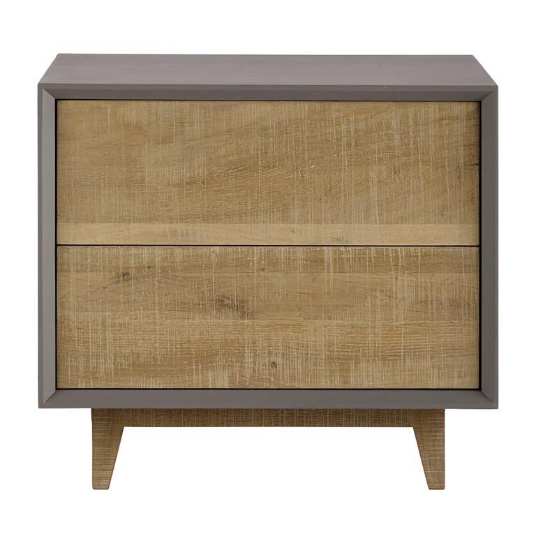 table de chevet avec tiroirs grise l 50 cm vermont. Black Bedroom Furniture Sets. Home Design Ideas