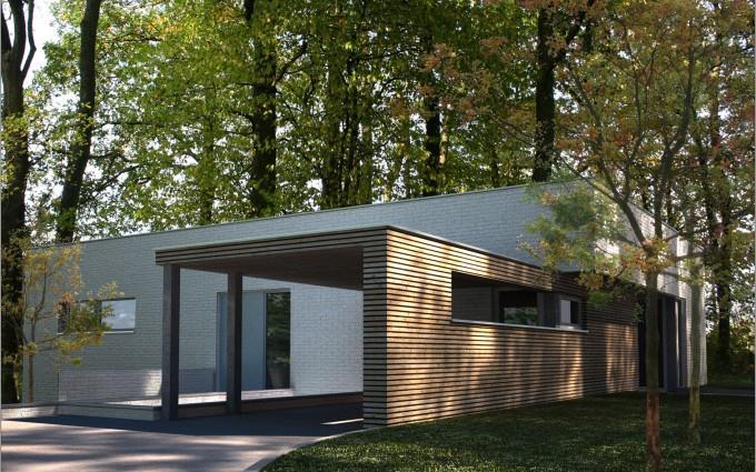 Salon Contemporain Gris Et Bois : Image Maison contemporaine en briques et bardage bois avec volumes