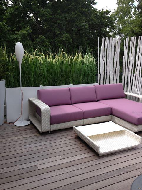 Terrasse bois avec canap d 39 angle violet before after home for Bois et chiffon canape