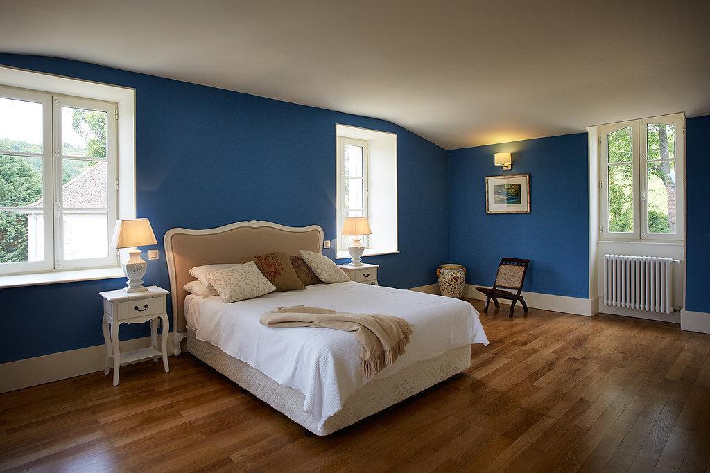 Chambre bleu turquoise et beige