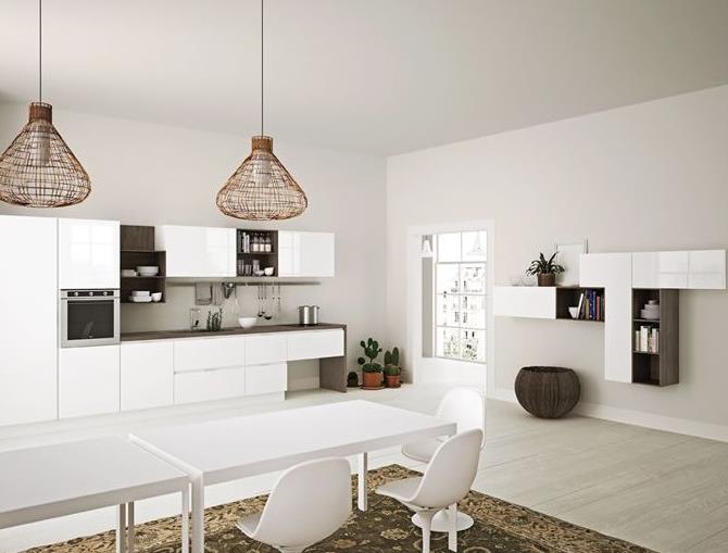 Cuisine u design ouverte blanche noire pictures to pin on - Cuisine blanche ouverte sur salon ...