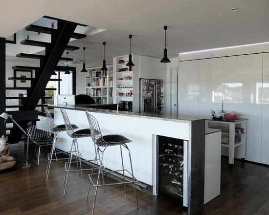 Cuisine Moderne Blanche Et Grise Avec Bar Cuisine Moderne Grise