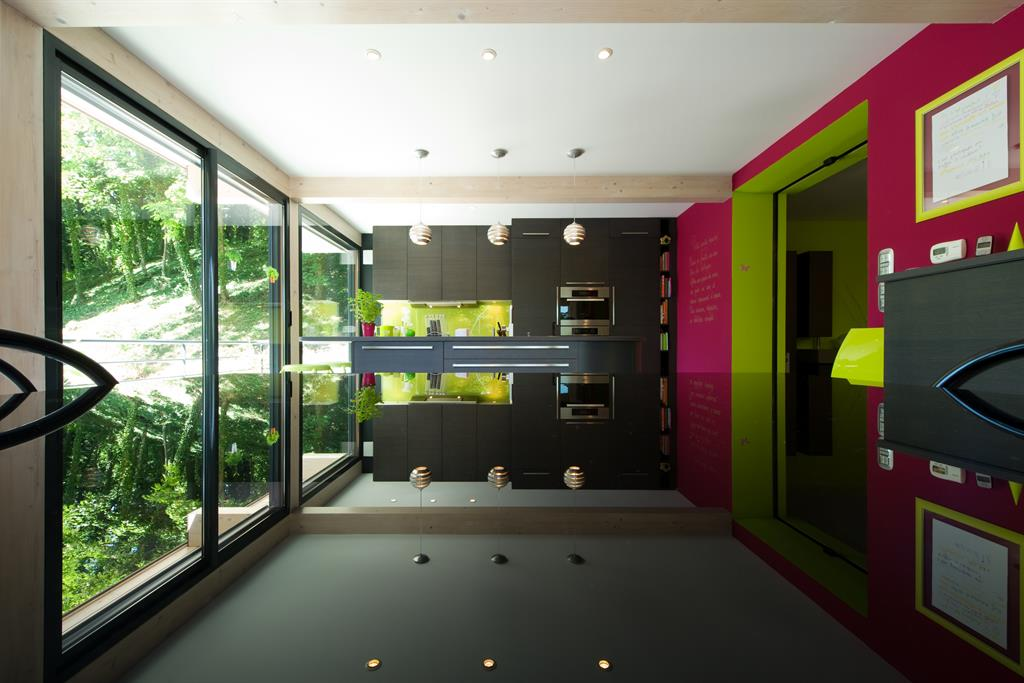 Meuble Tele Bois Fonce : Image Meubles En Bois Foncé Et Mur D accent Rose Sk Concept Paris