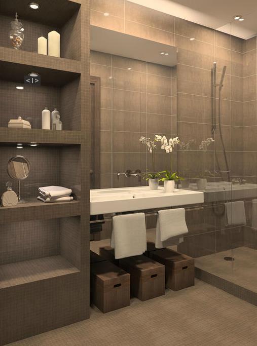 Salle de bain avec grande glace murale anne beaugrand siros for Glace salle de bain