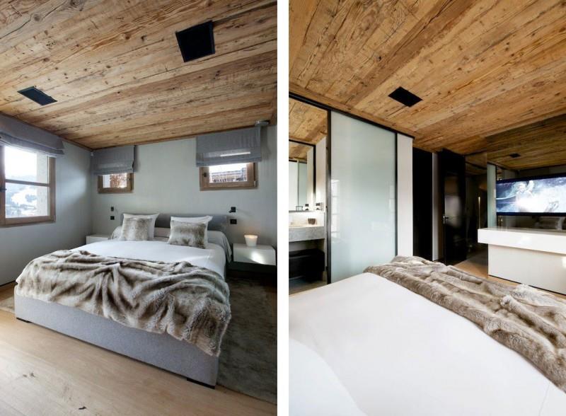 Chambre coucher ambiance montagne avec lambris au plafond for Chambre style chalet montagne